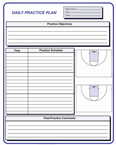 Basketball Practice Plan Templates Lovely Basketball Coaching forms
