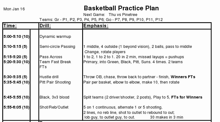 Basketball Practice Plans Template Beautiful Basketball Practice Plan Template Pdfbasketball Practice