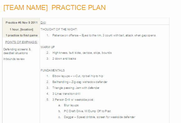 Basketball Practice Plans Template Elegant Easy to Update Basketball Practice Plan Template In Ms