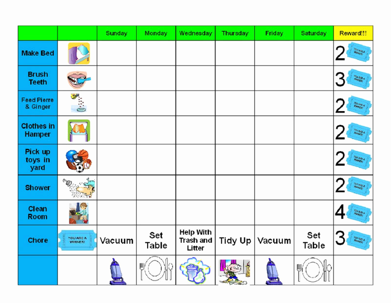 daily printable behavior charts for home for kids 001