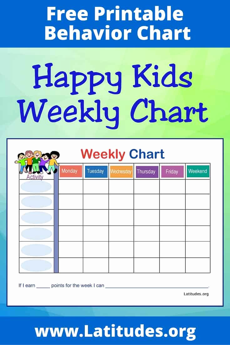 Behavior Charts for Home New Free Weekly Behavior Chart Happy Kids