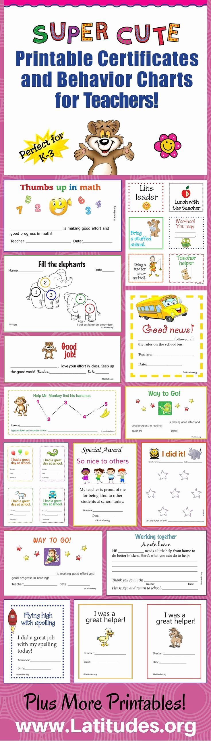 Behavior Charts for Teachers Best Of Free Super Cute Printable Certificates and Behavior Charts