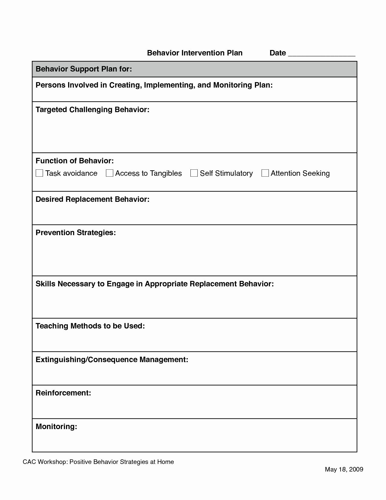 Behavior Intervention Plan Example Inspirational Behavior Intervention Plan Template