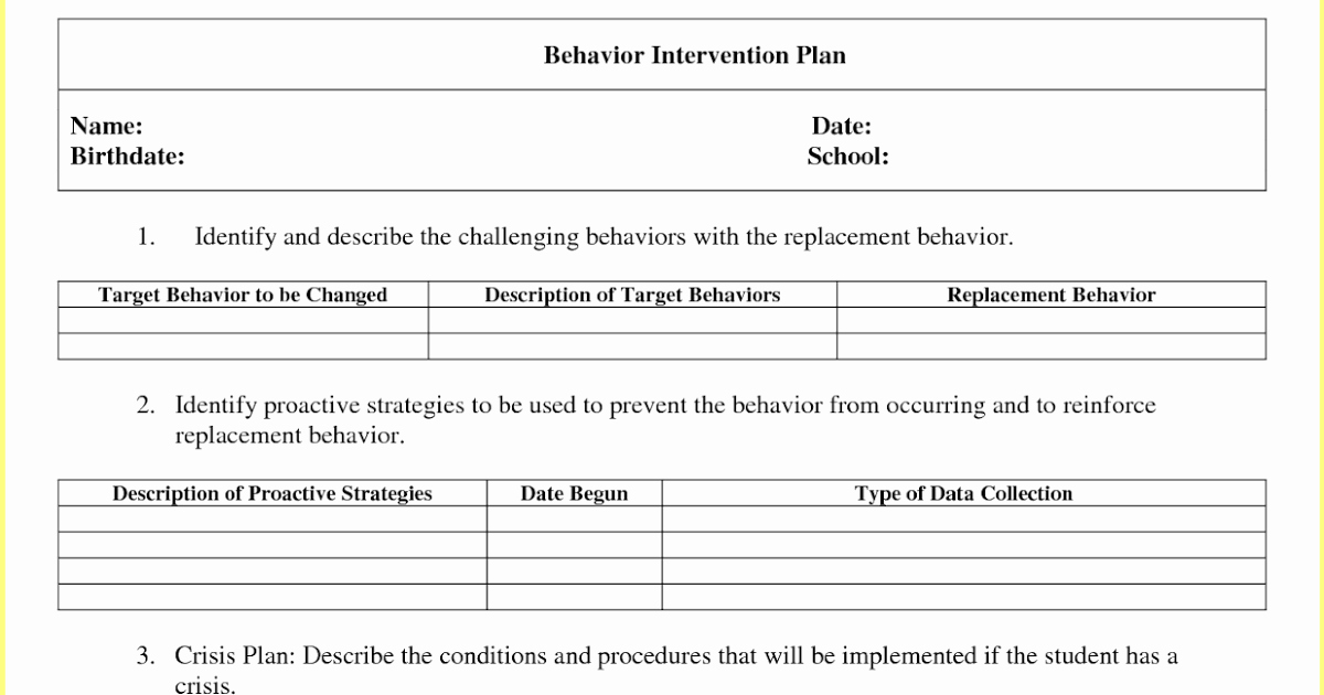 Behavior Intervention Plan Example New Behavior Intervention Plan Template
