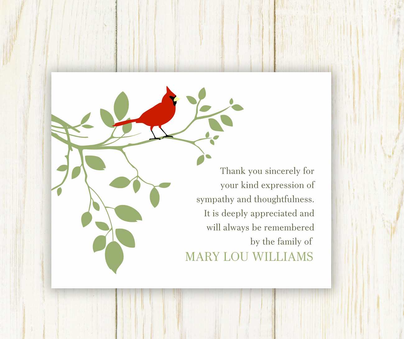 Bereavement Thank You Cards Awesome Red Bird Funeral Thank You Card Digital Sympathy Card