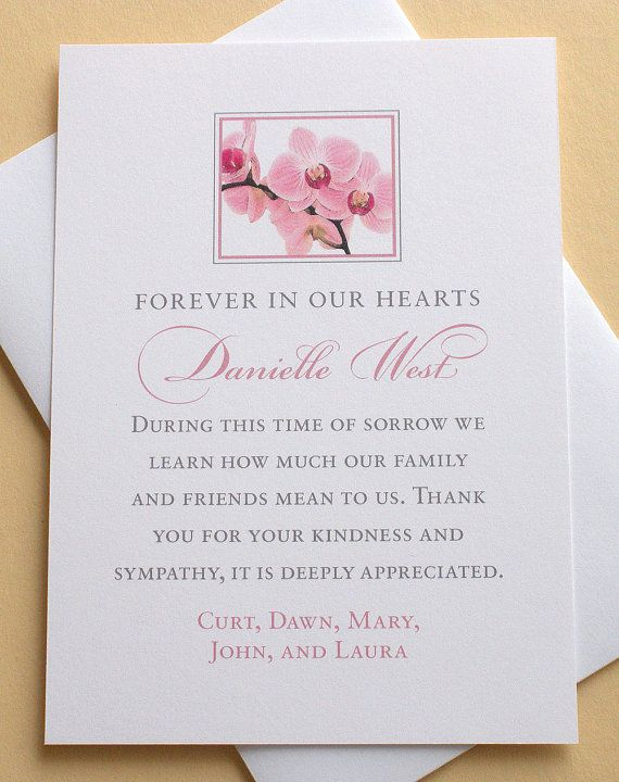 Bereavement Thank You Cards Awesome Sympathy Thank You Card with Pink orchids Personalized