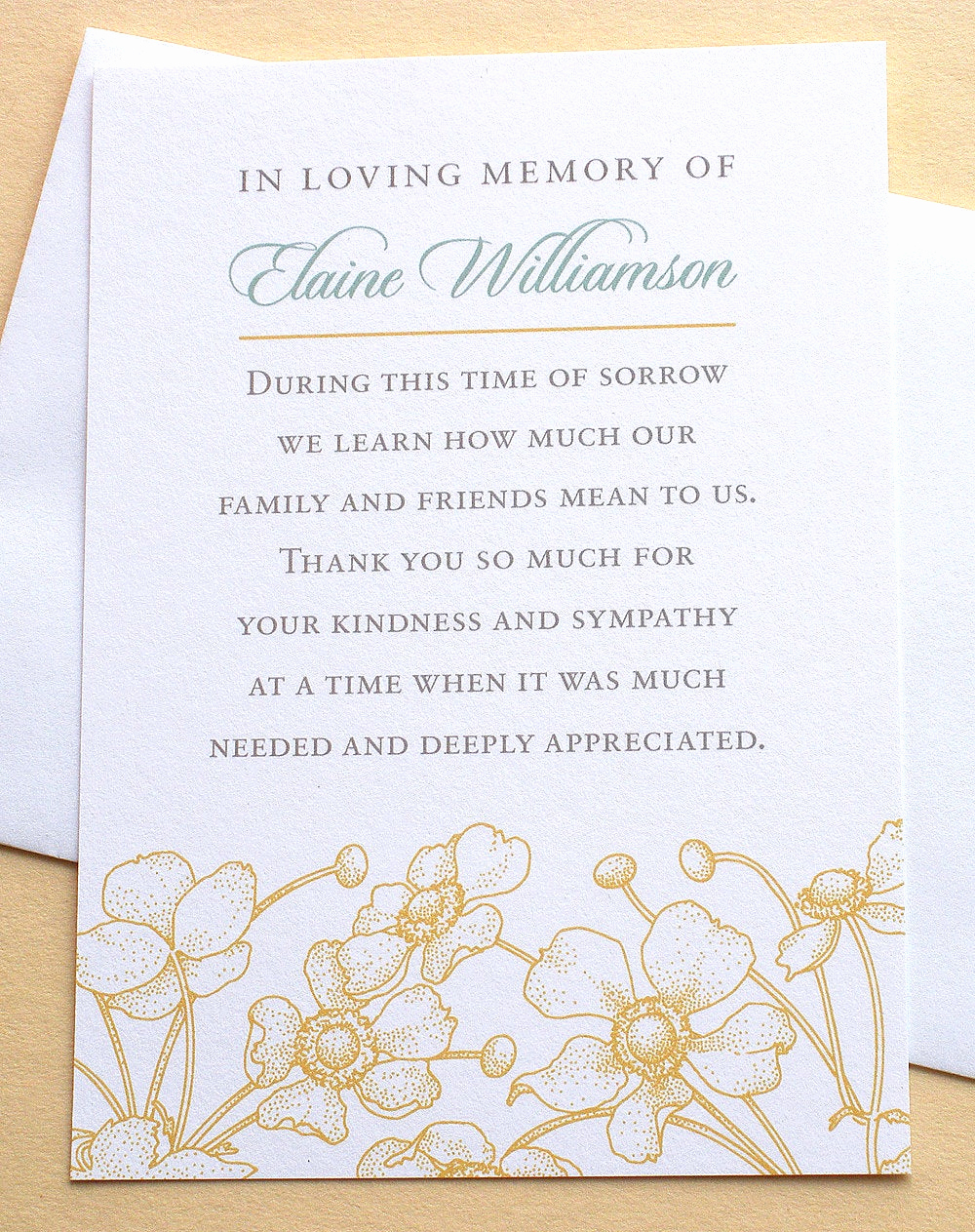 Bereavement Thank You Cards Awesome Sympathy Thank You Cards with Yellow Flowers Flat Cards