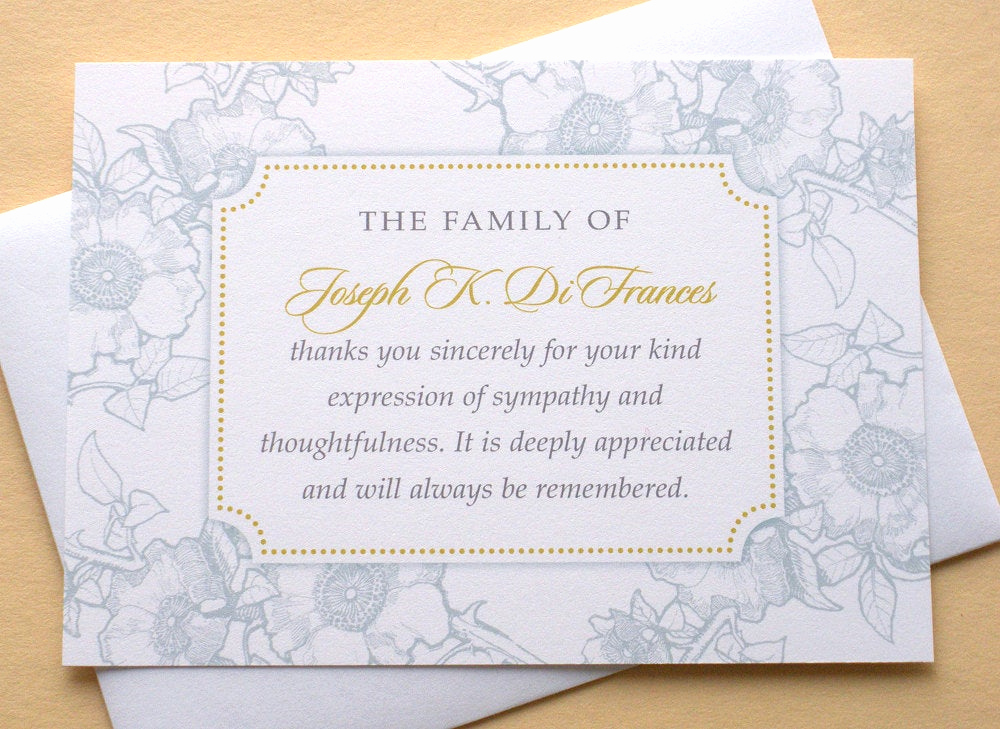 Bereavement Thank You Cards Best Of Funeral Thank You Cards with Blue or Dusty Rose Flowers