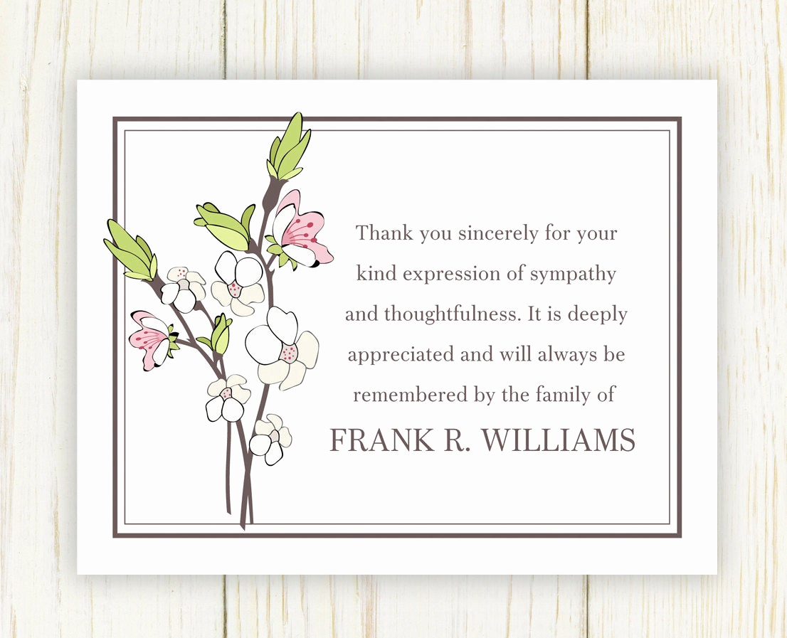 Bereavement Thank You Cards Elegant Cherry Blooms Funeral Thank You Card Digital File Sympathy
