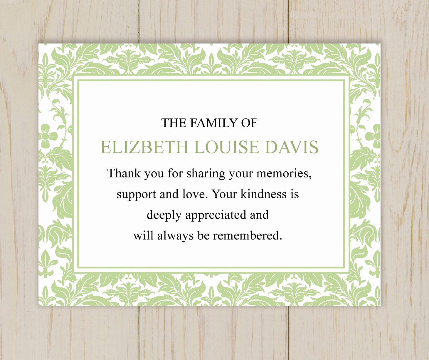 Bereavement Thank You Cards Elegant Damask Funeral Thank You Card Printable Digital File