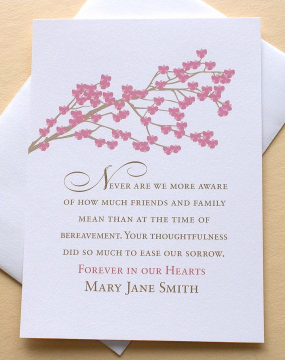 Bereavement Thank You Cards Lovely Funeral Thank You Sympathy Card with Rose Colored Blossoms