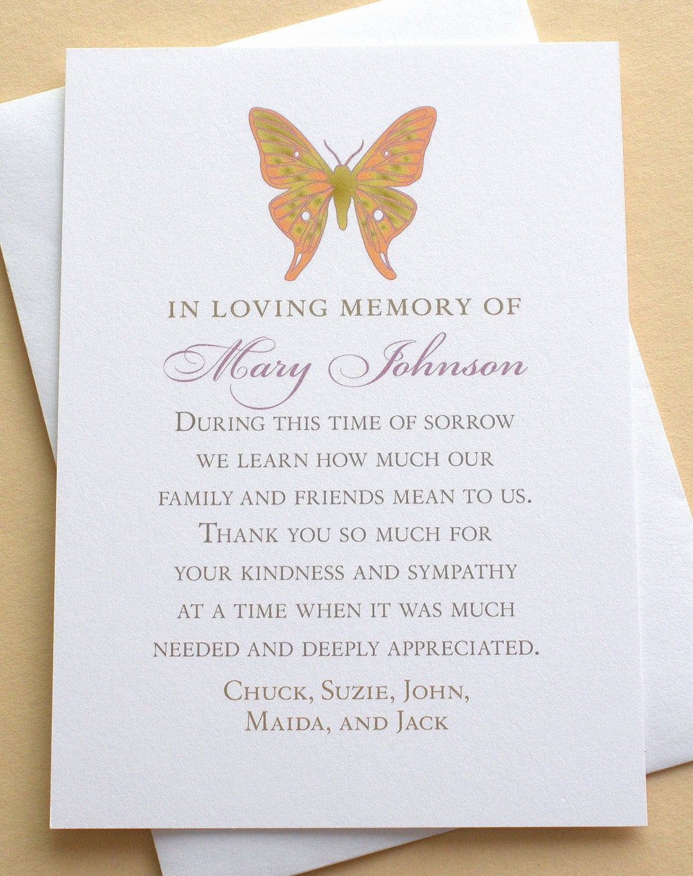 Bereavement Thank You Cards Luxury butterfly Thank You Sympathy Cards Personalized Flat Cards