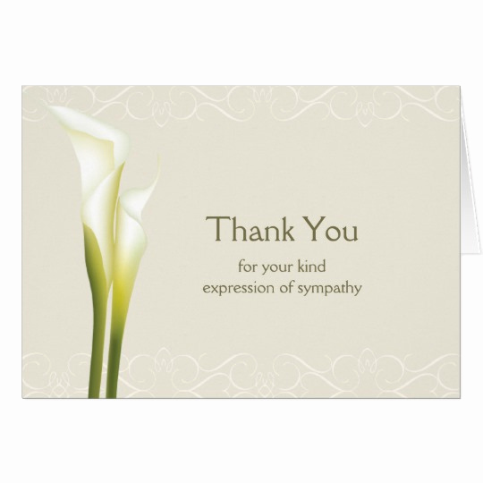 Bereavement Thank You Cards Luxury Calla Lily Sympathy Thank You Cards