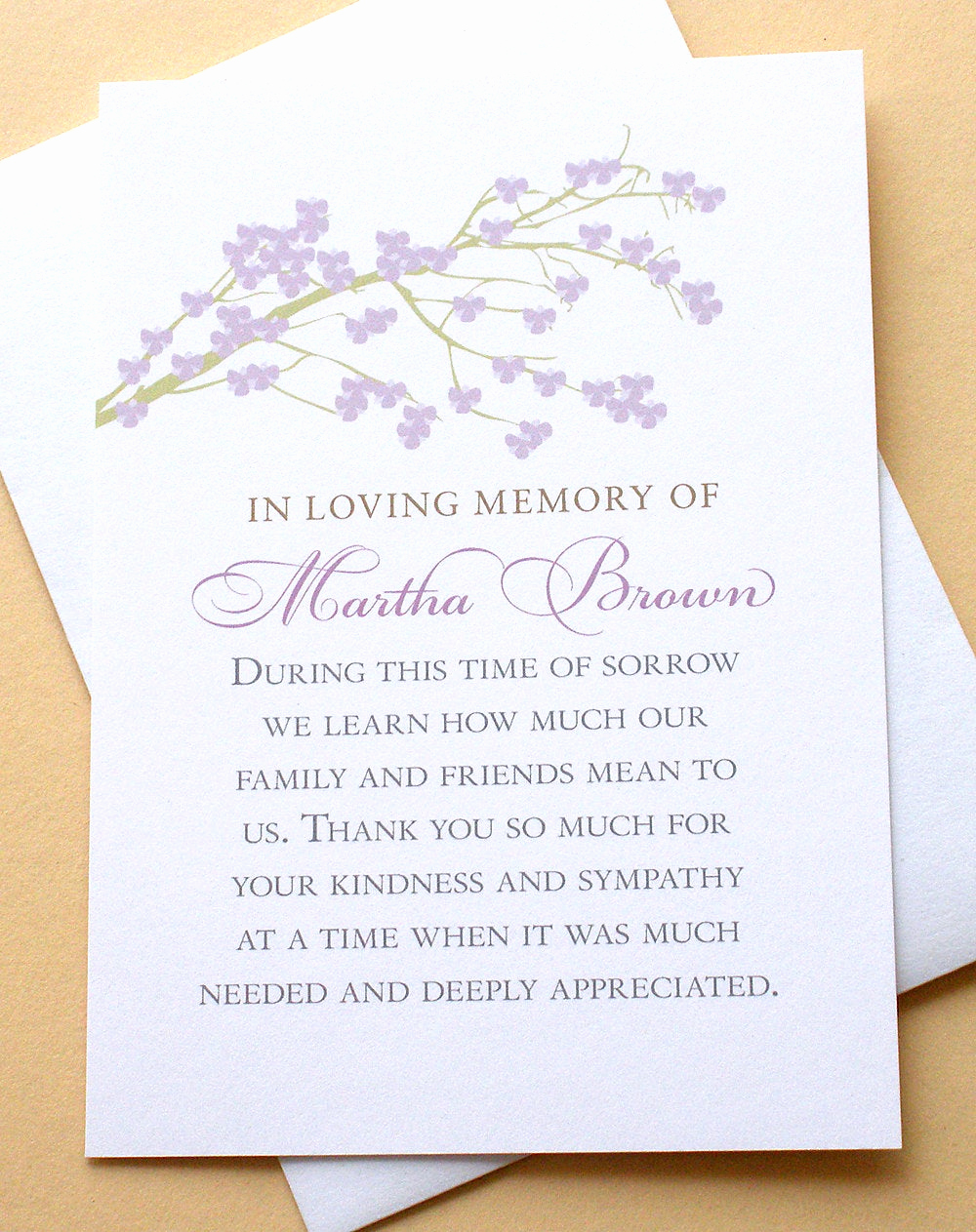 Bereavement Thank You Cards Luxury Sympathy Thank You Cards with A Branch Of Purple by