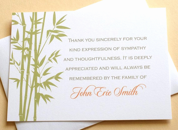 Bereavement Thank You Cards Unique Bamboo Personalized Sympathy Thank You Cards Personalized