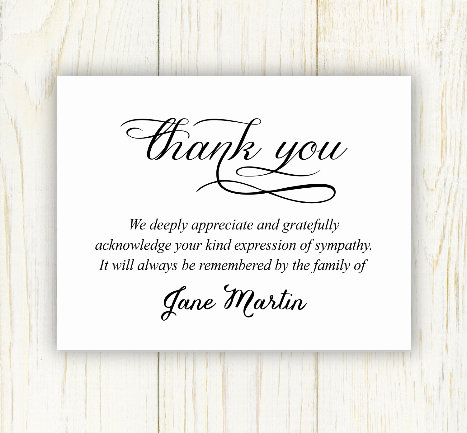Bereavement Thank You Cards Unique Funeral Thank You Card Digital File Sympathy Thank You