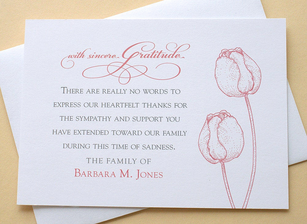 Bereavement Thank You Notes Beautiful Funeral Thank You Cards with 2 Burgundy or 2 Purple Tulips