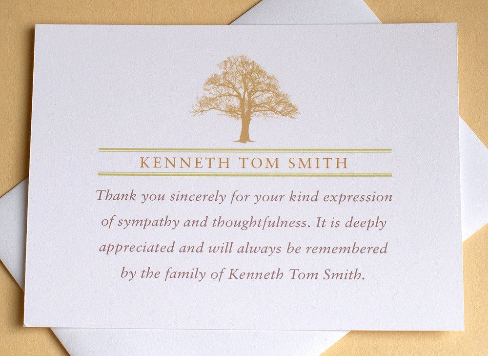 Bereavement Thank You Notes Best Of Funeral Thank You Notes with A Strong Tree Personalized