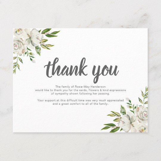 Bereavement Thank You Notes Best Of Personalized Funeral Thank You Note