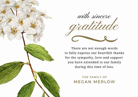 Bereavement Thank You Notes Elegant Bereavement Thank You Card & Sympathy Thank You Note