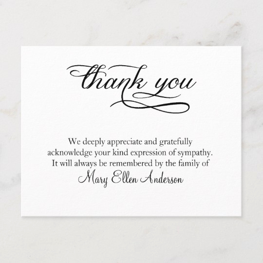 Bereavement Thank You Notes New Thank You Funeral Thank You Note Card Behreavement