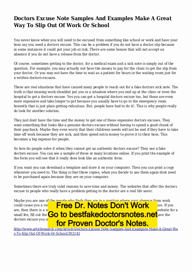 Best Fake Doctors Notes Awesome Fake Doctors Note Excuse Templates for Work & School Pdf