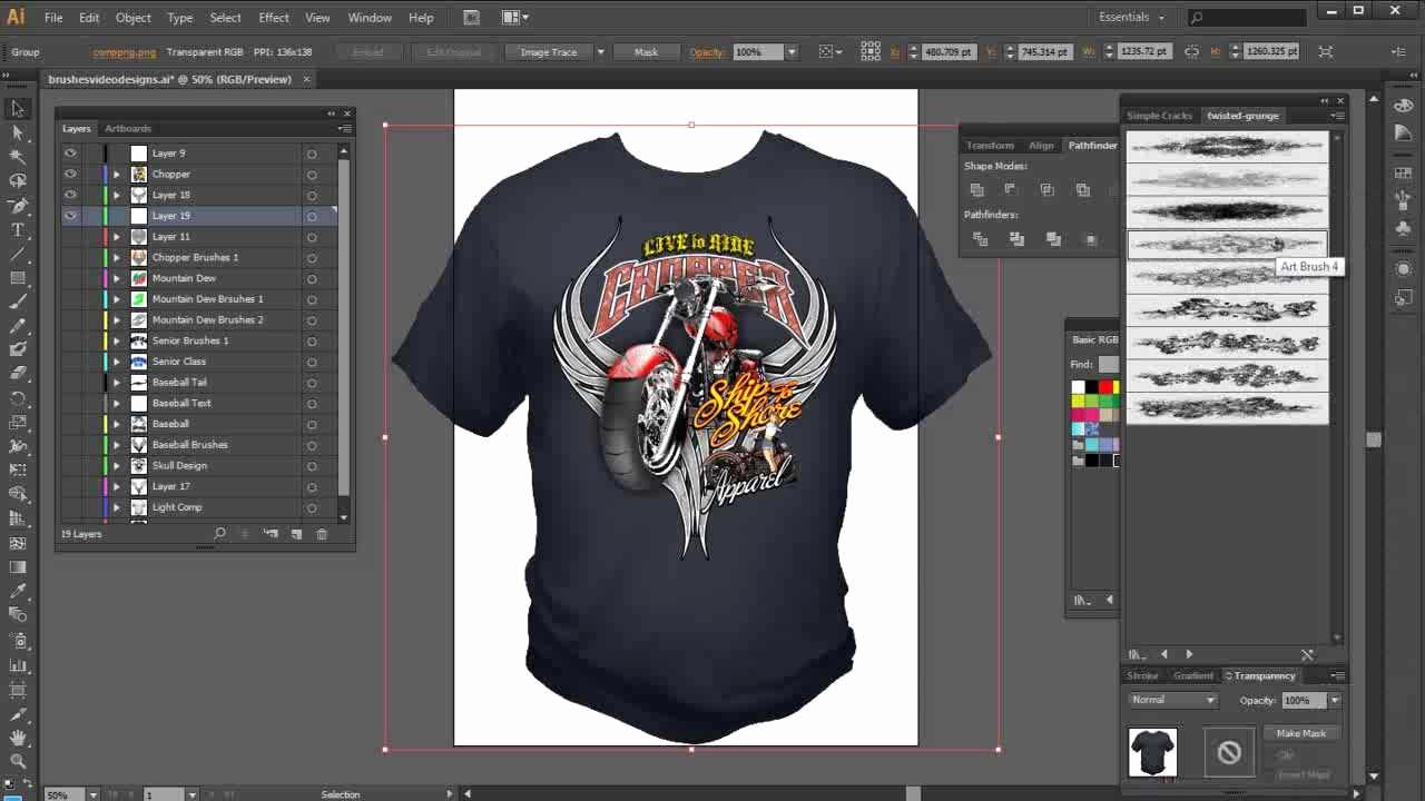 Best T Shirt Design software New Illustrator Brushes High End Tshirt Design Tutorial