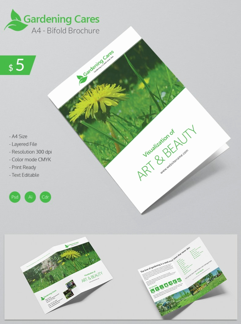 Bi Fold Brochure Template Elegant Beautiful Gardening Care A4 Bi Fold Brochure Template