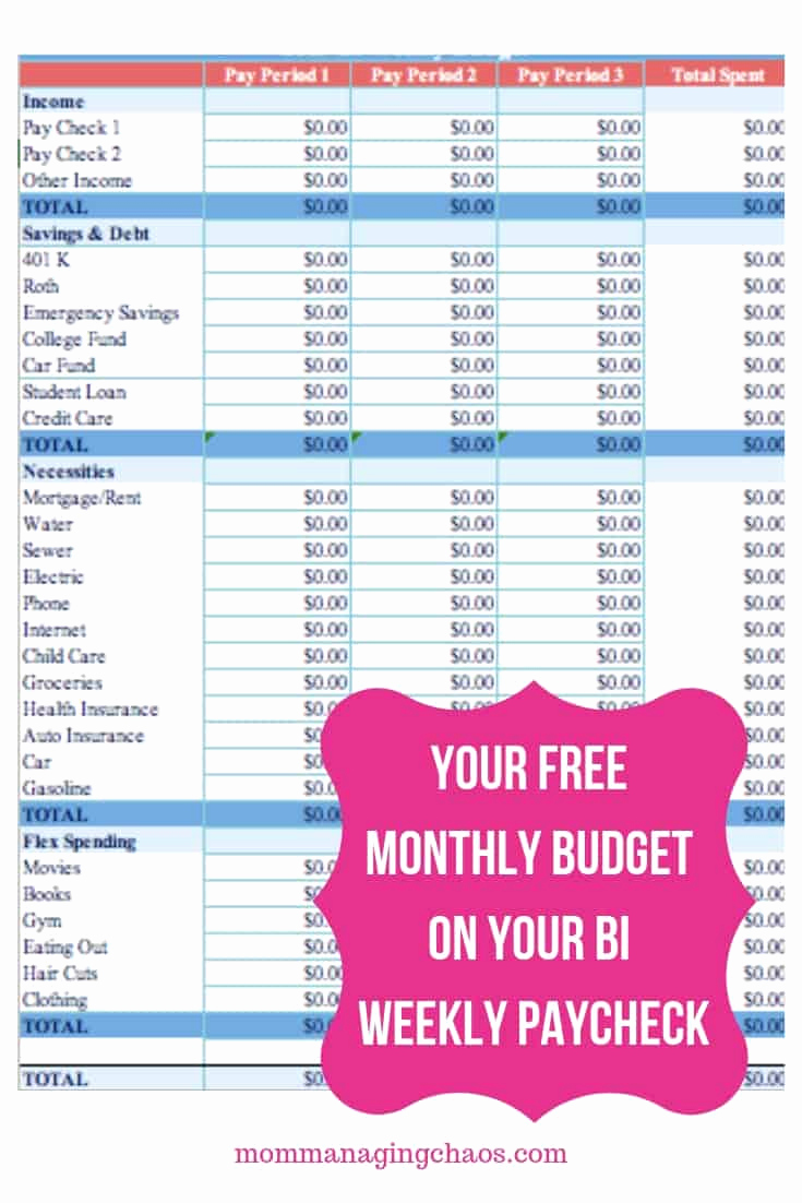 Bi Weekly Budget Template Awesome How to Bud Biweekly Paychecks Paying Monthly Bills