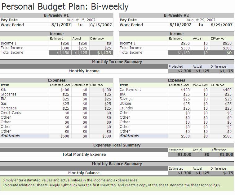 Bi Weekly Budget Template Lovely Biweekly Bud