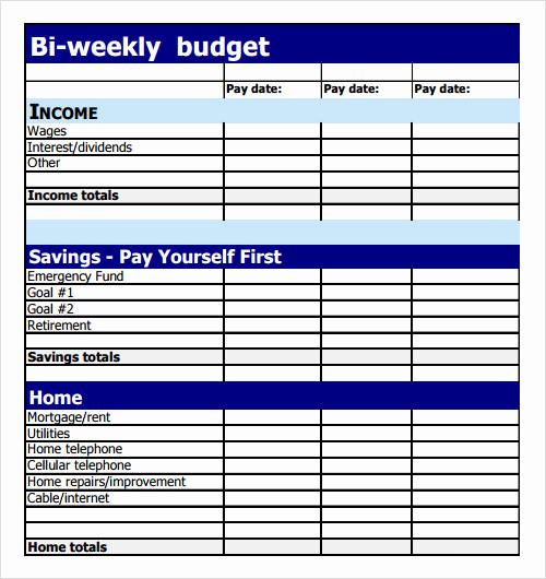 Bi Weekly Budget Template Luxury Bi Weekly Bud