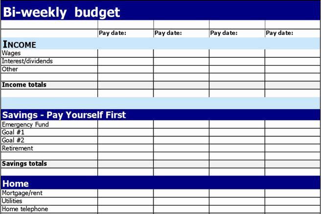 Bi Weekly Budget Template New 1 Bi Weekly Bud Template Free Download
