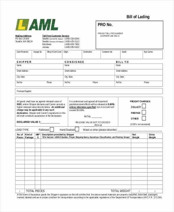 Bill Of Lading Sample Awesome Sample Bill Of Lading form 13 Free Documents In Pdf