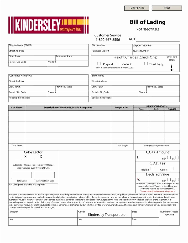 Bill Of Lading Sample Best Of 29 Bill Of Lading Templates Free Word Pdf Excel
