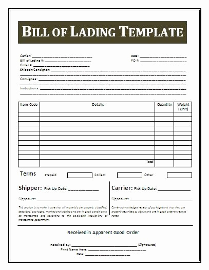 Bill Of Lading Sample Best Of Printable Sample Bill Lading Template form