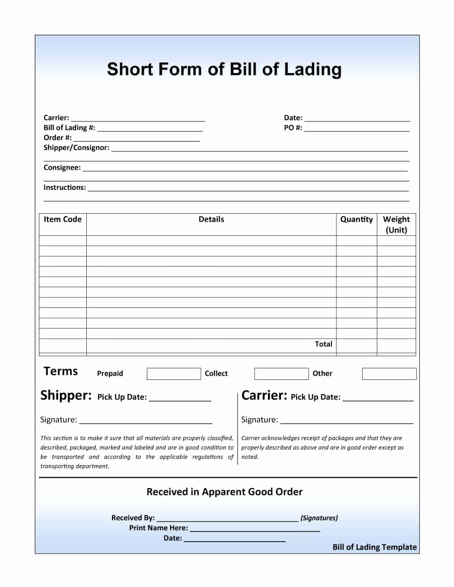 Bill Of Lading Sample Lovely 40 Free Bill Of Lading forms & Templates Template Lab