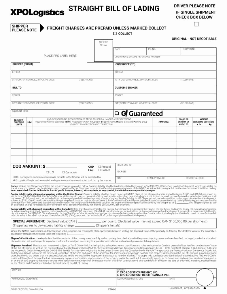 Bill Of Lading Sample Luxury 29 Bill Of Lading Templates Free Word Pdf Excel
