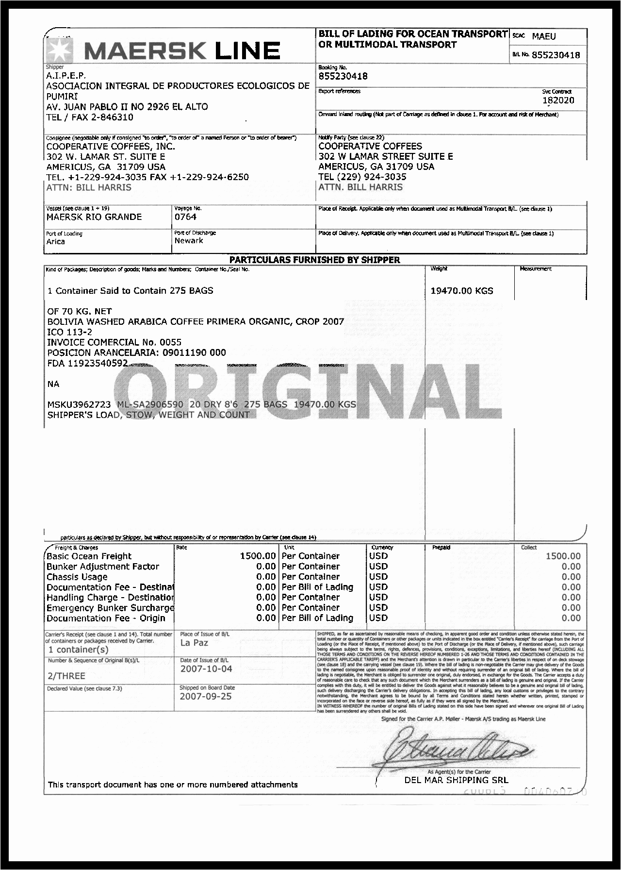 Bill Of Lading Sample Unique Bill Lading Example Mughals