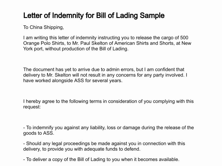 Bill Of Lading Sample Unique Letter Of Indemnity