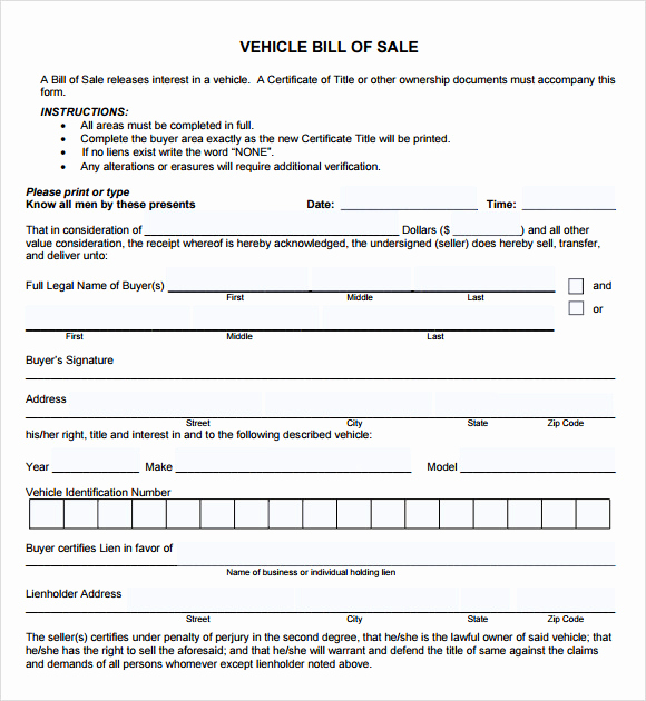 Bill Of Sale Car Template Beautiful Vehicle Bill Of Sale Template 14 Download Free