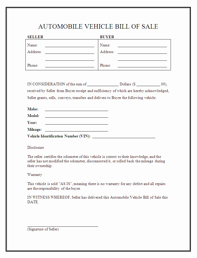 Bill Of Sale Car Template New Free Printable Vehicle Bill Of Sale Template form Generic