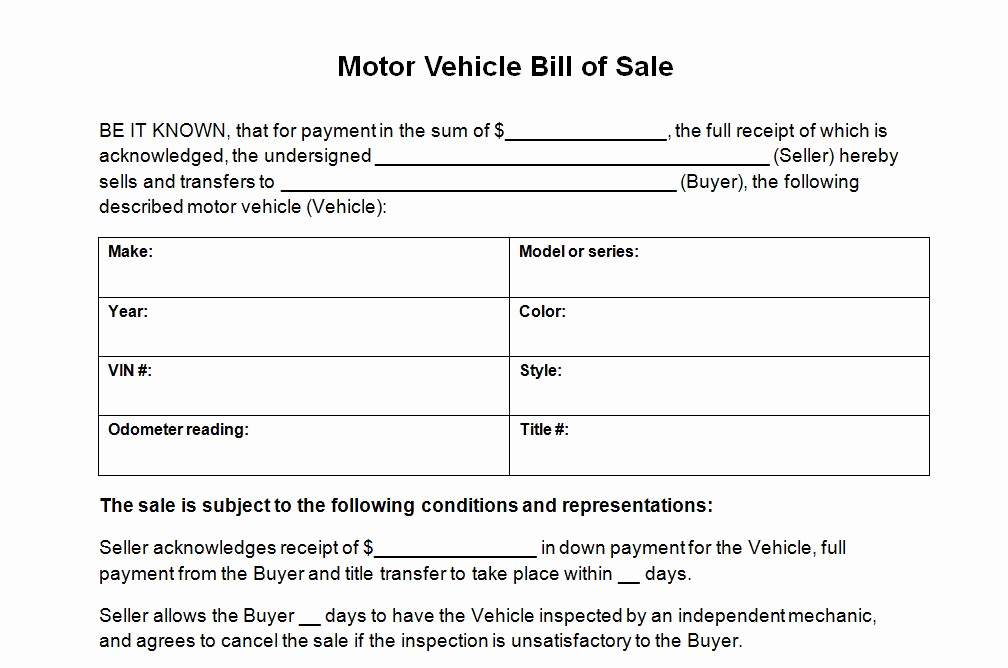 Bill Of Sale Car Template Unique Vehicle Bill Sale Template