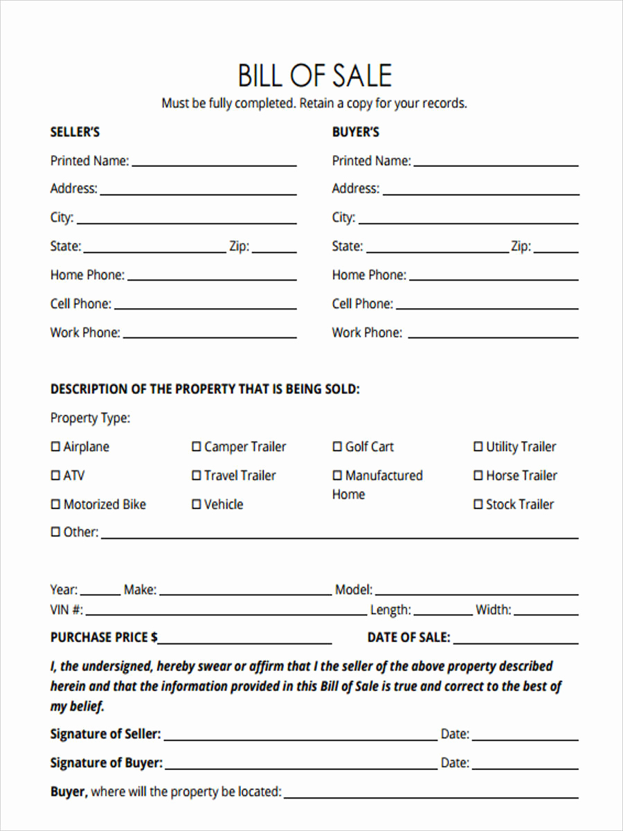 Bill Of Sale for Horse Awesome 30 Sample Bill Of Sale forms