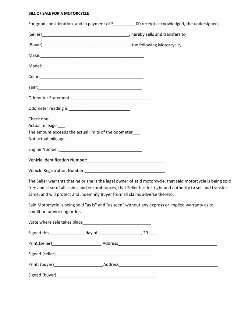 Bill Of Sale for Motorcycle Awesome Free Massachusetts Motorcycle Bill Of Sale form