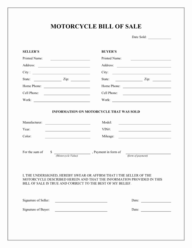 Bill Of Sale for Motorcycle Awesome Free Printable Motorcycle Bill Of Sale form Template
