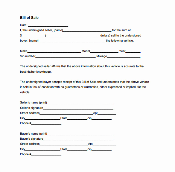 Bill Of Sale for Motorcycle Fresh Bill Of Sale Template 44 Free Word Excel Pdf