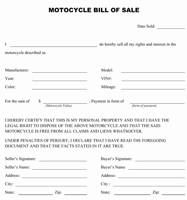 Bill Of Sale for Motorcycle Inspirational 1764 Best Blank Real Estate form Template Images On Pinterest