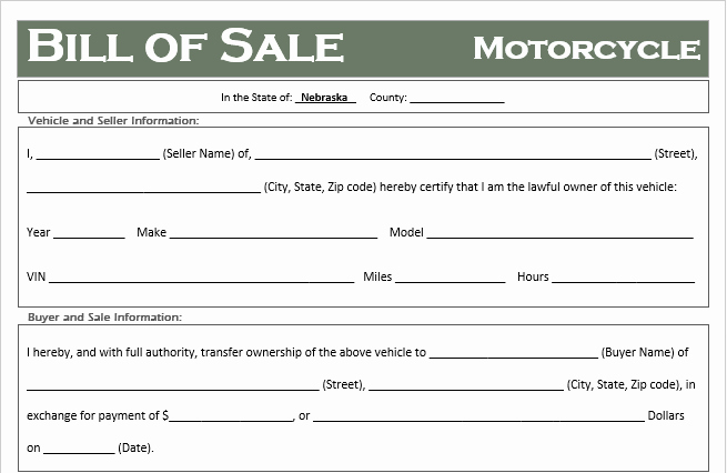 Bill Of Sale for Motorcycle New Free Nebraska Motorcycle Bill Of Sale Template F Road