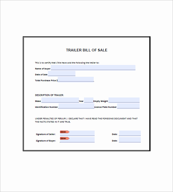 Bill Of Sale for Trailers Luxury Trailer Bill Of Sale – 8 Free Word Excel Pdf format