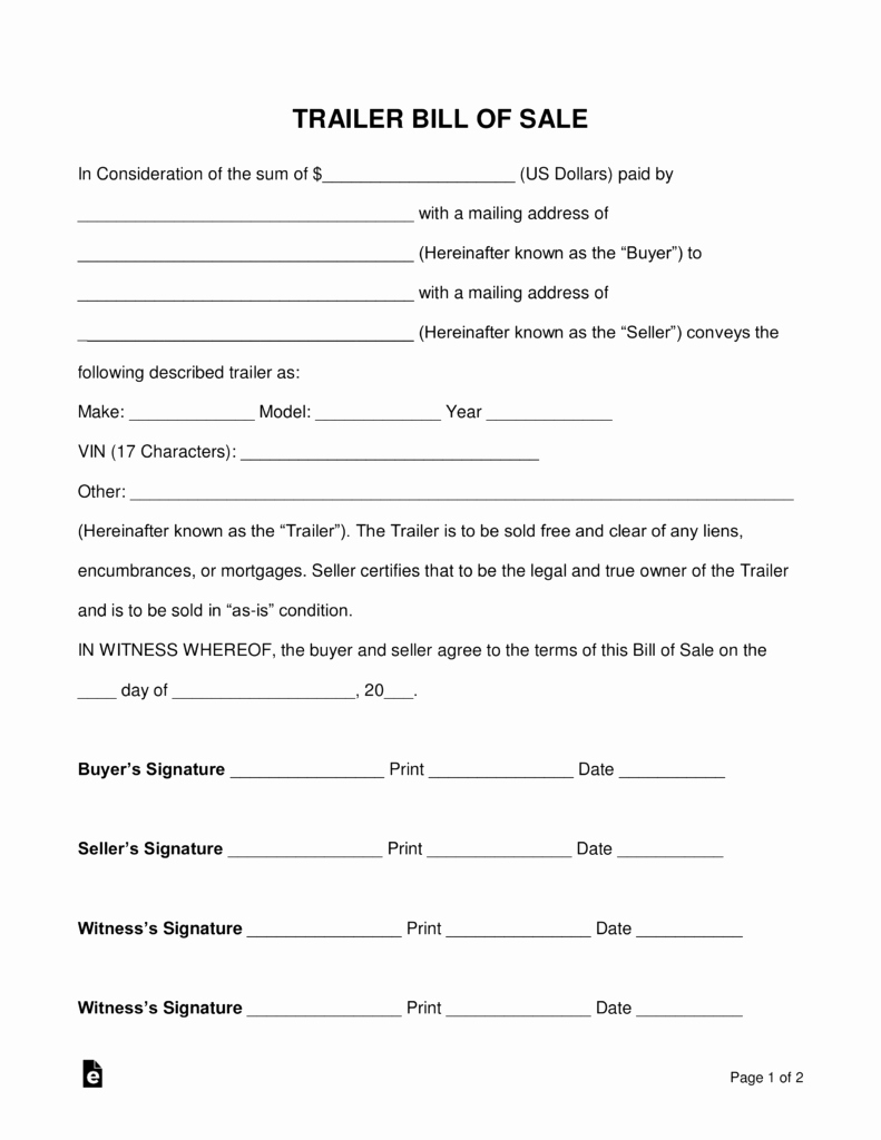 Bill Of Sale form Pdf Awesome Free Trailer Bill Of Sale form Word Pdf